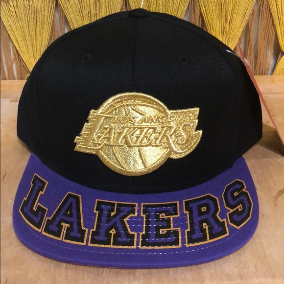 Mitchell Ness Accessories Los Angeles Lakers Gold Pointer Snapback Hat Cap Poshmark